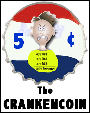 the crankencoin, created by Dr. Crankenfuss at Freaky Dude Books