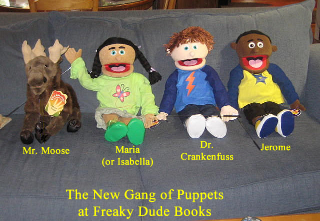 Here's our four puppets so far with the best looking guy second from the right.